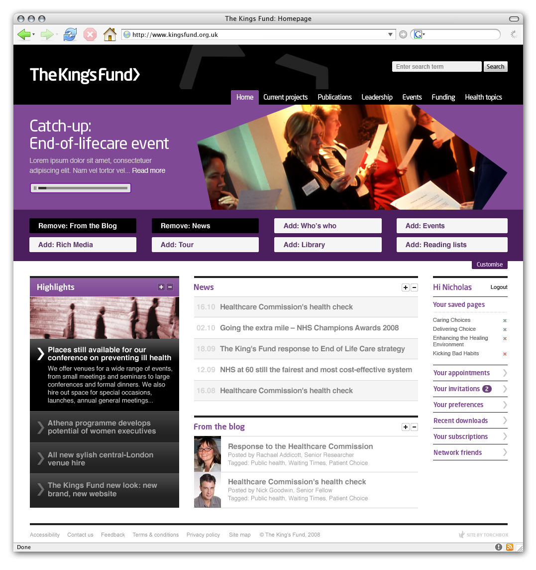 Kingsfund homepage open