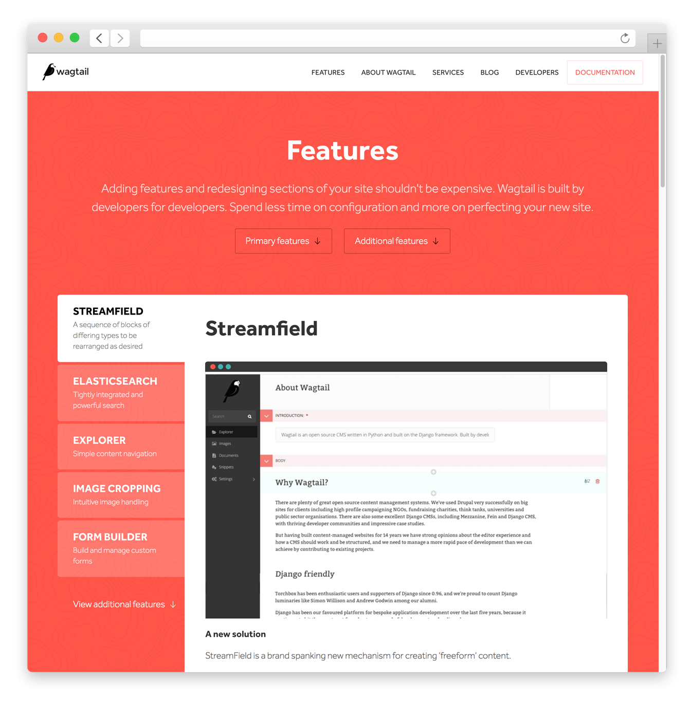Wagtail features